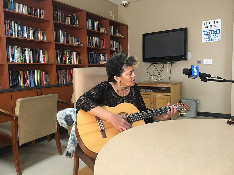 Esmerelda Sanchez, 72, keeps herself busy during the COVID-10 pandemic by sin...
