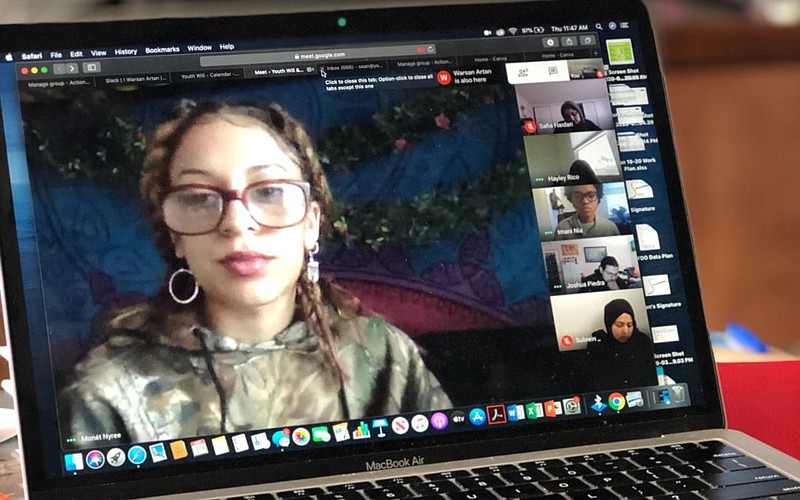 Young people gather in a Google Hangout to discuss issues that youths are fac...