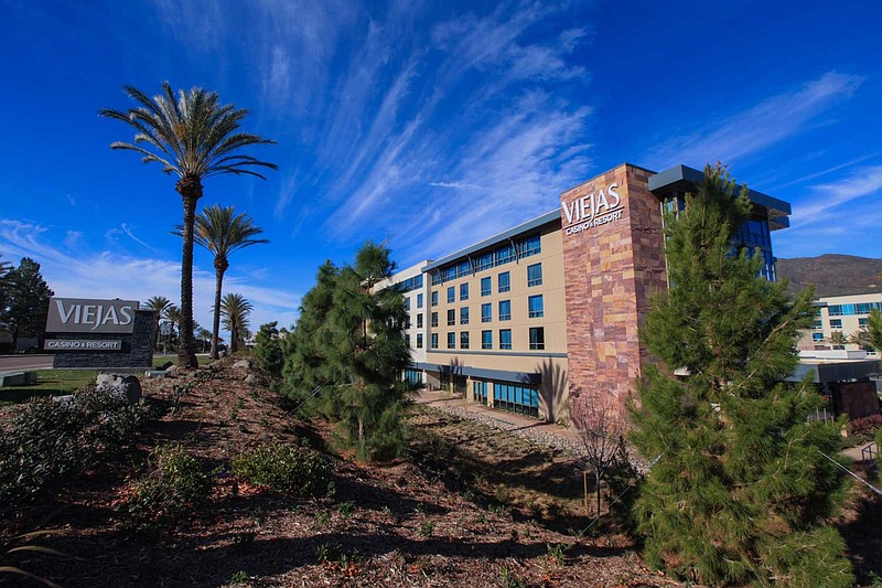 The east entrance to the hotel at Viejas Casino Resort in Alpine in this unda...