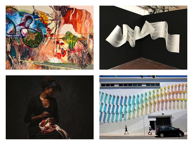Clockwise from top left: work by Griselda Rosas, Melissa Walter, Kaori Fukuya...