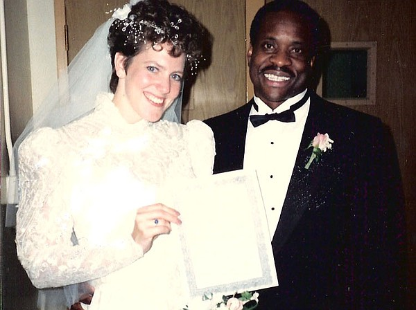 Clarence Thomas (right) and his new wife Virginia display...