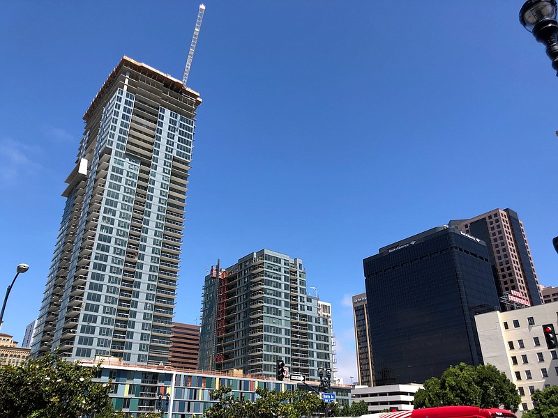 New housing under construction in downtown San Diego on May 28, 2020.