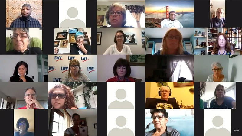Members of the Racial Justice Coalition of San Diego hold a virtual news conf...