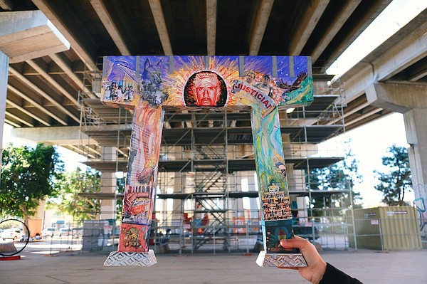Model of what the Chicano Park mural in memory of Anastas...