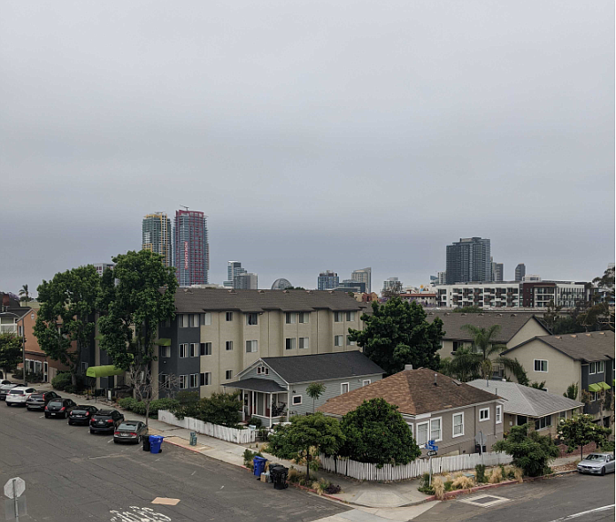 Fog hangs over downtown San Diego as cooler weather moves into San Diego Coun...