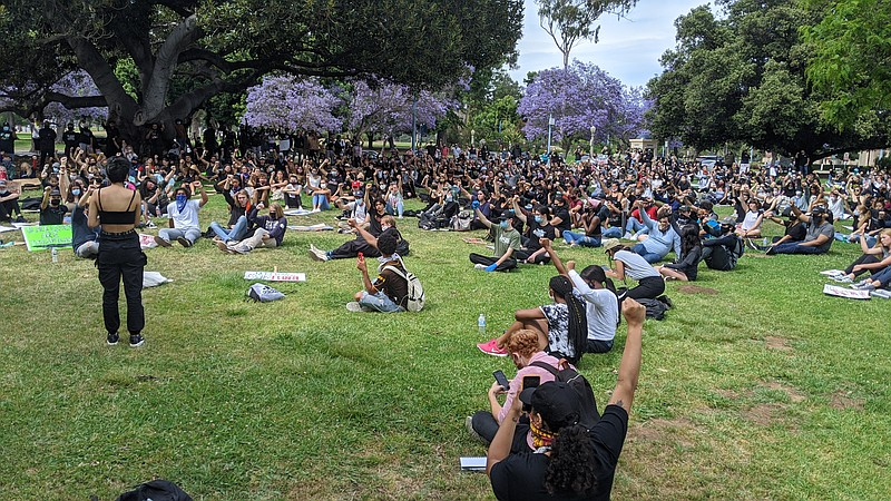 Protesters gathered in Balboa Park where they read the names of black people ...
