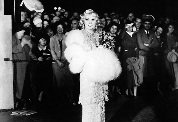 Mae West at the premiere of her film