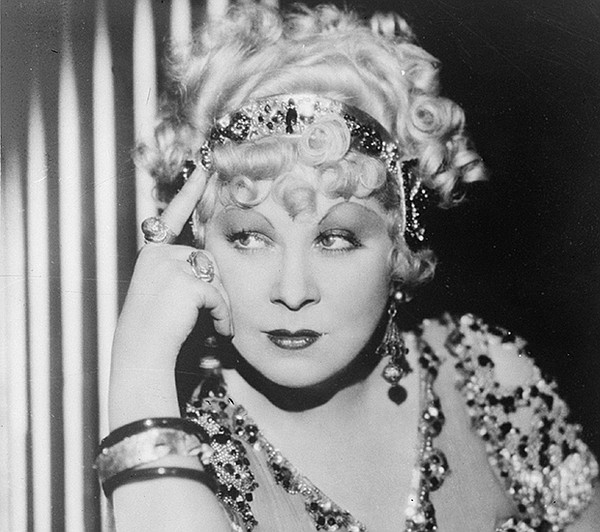 Mae West on the set of her film