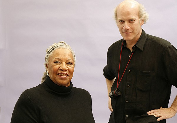 Toni Morrison and Timothy Greenfield-Sanders behind the s...