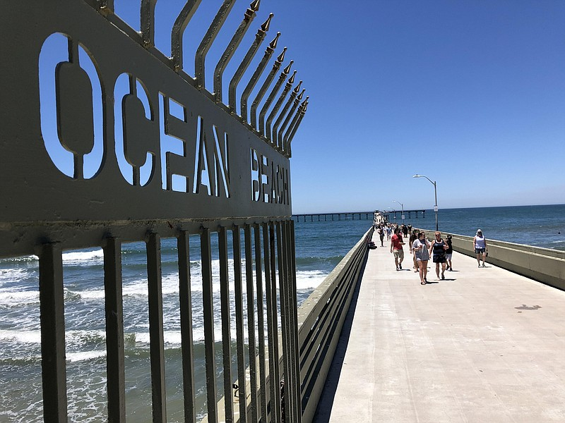 People walking on Ocean Beach Pier on June 9, the first day the pier reopened...
