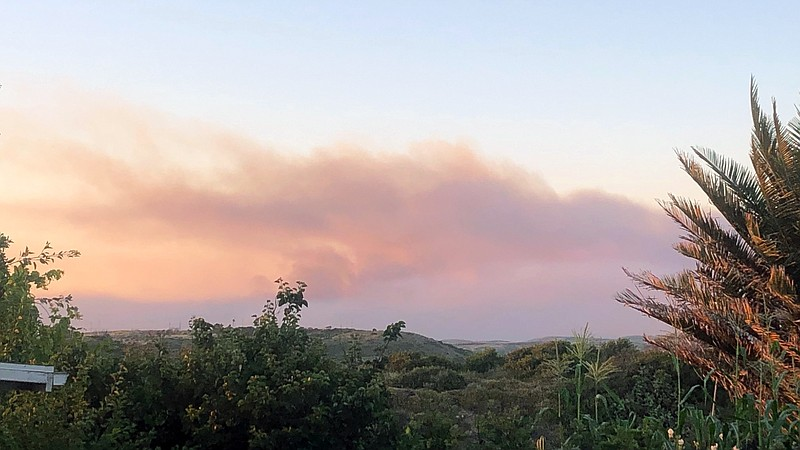 Smoke rising from Camp Pendleton as seen from Oceanside on June 9, 2020.