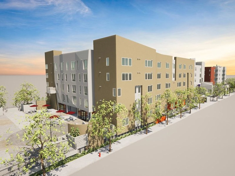 An updated rendering of the Mid-City Senior Apartments.