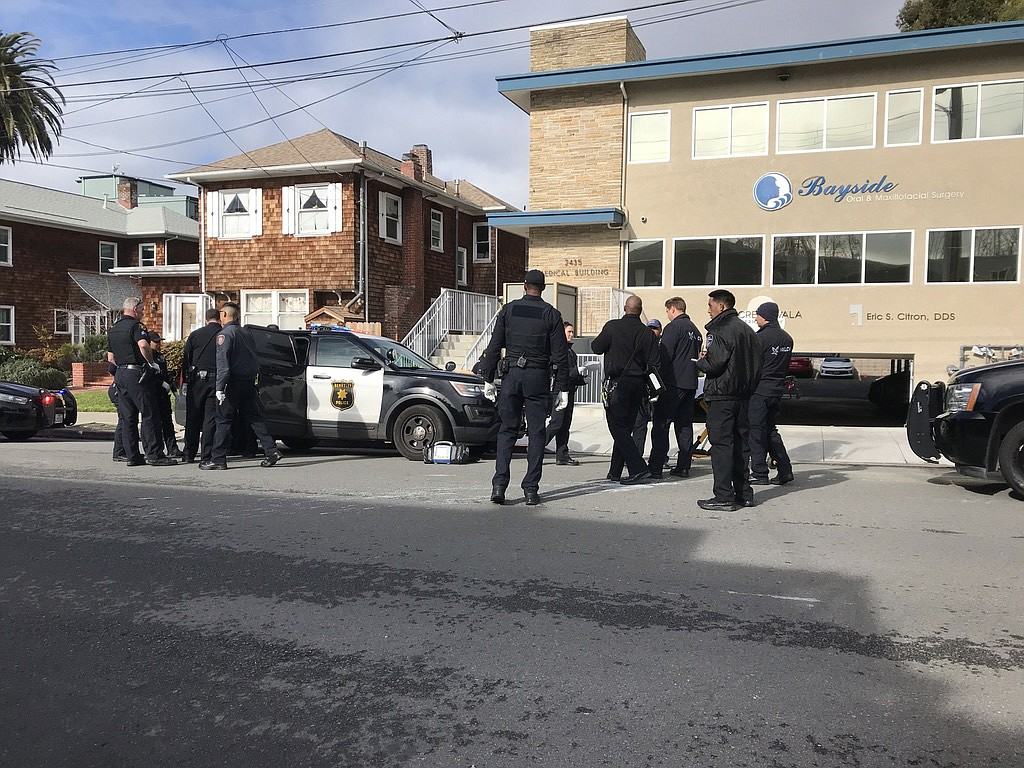 Berkeley police officers respond to a call for a man having a mental health c...