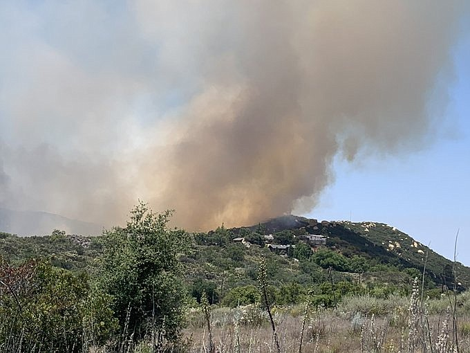 Smoke rising from the Skyline Fire in Jamul on June 11, 2020.