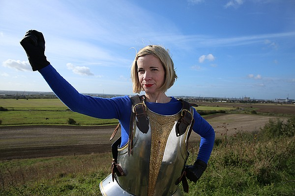 Lucy Worsley at Tilbury, England, the location where Quee...