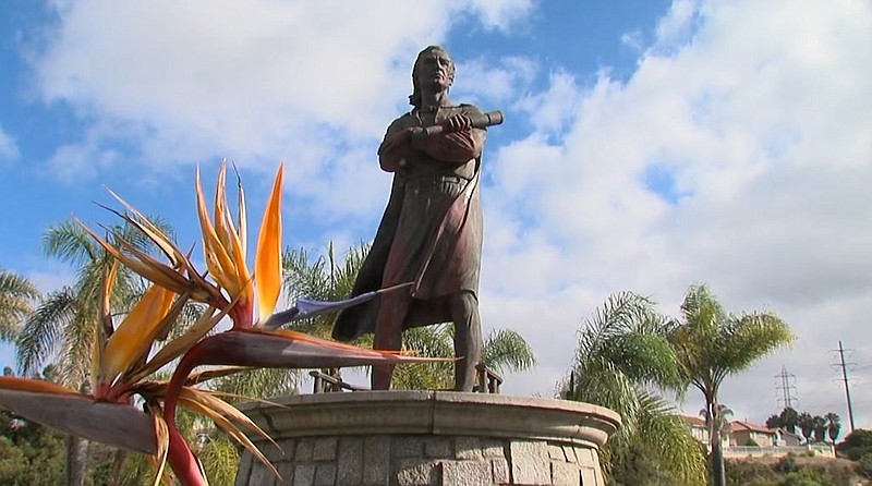 Christopher Columbus statue at Chula Vista's Discovery Park found vandalized,...