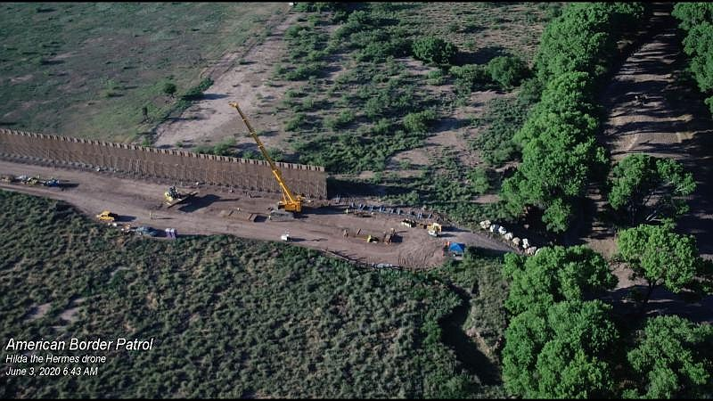 Drone camera image of border wall construction along the San Pedro River in e...