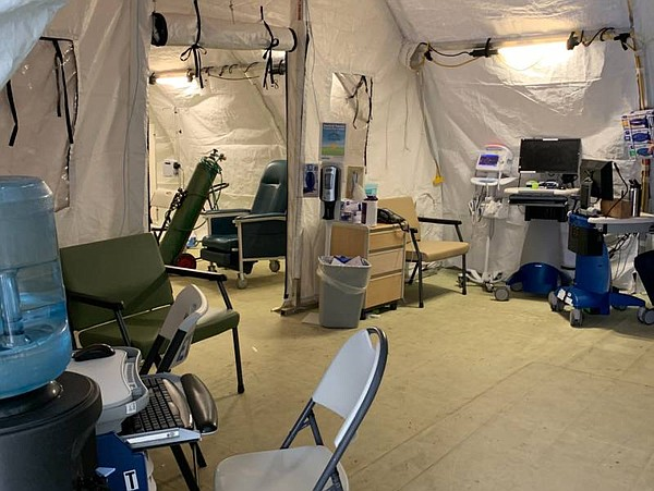 An emergency treatment area erected for COVID-19 patients...