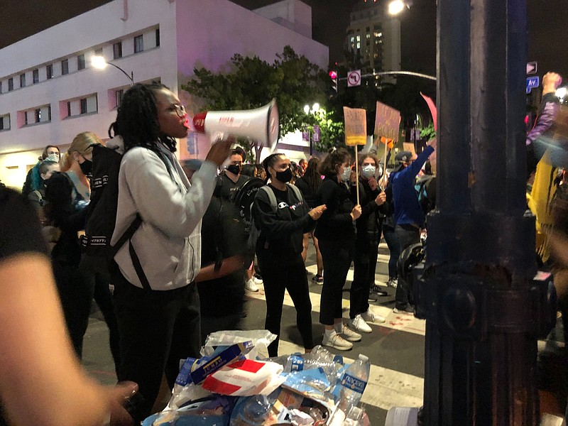 Protesters gather in downtown San Diego June 27, 2020 after San Diego police ...