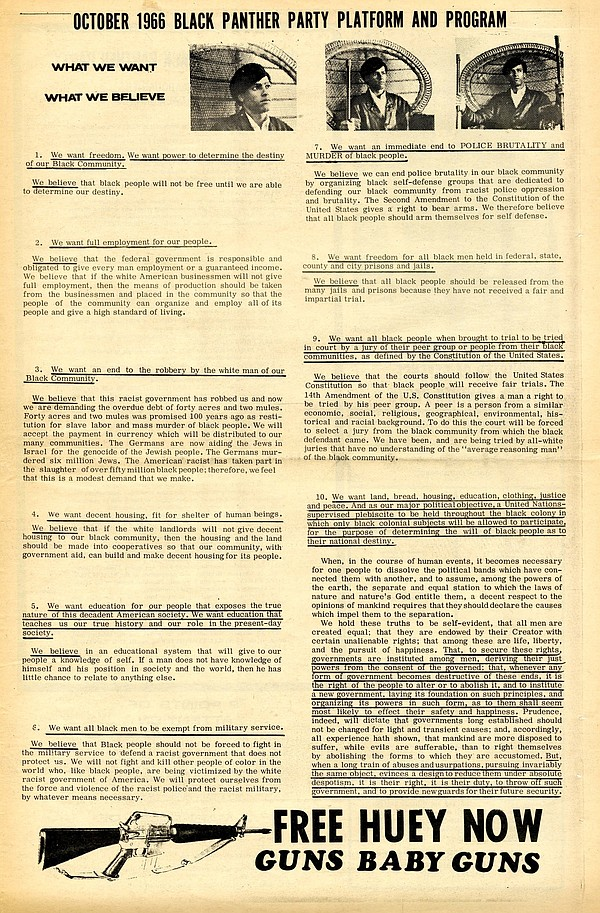 The Black Panther Party Newspaper outlined its platform a...