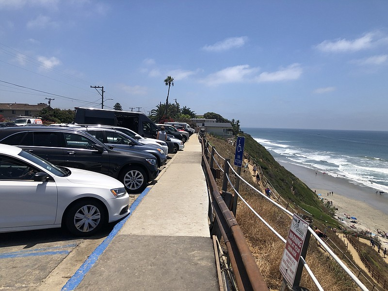 Crowds gather at Leucadia State Beach in Encinitas, California. July 3, 2020.