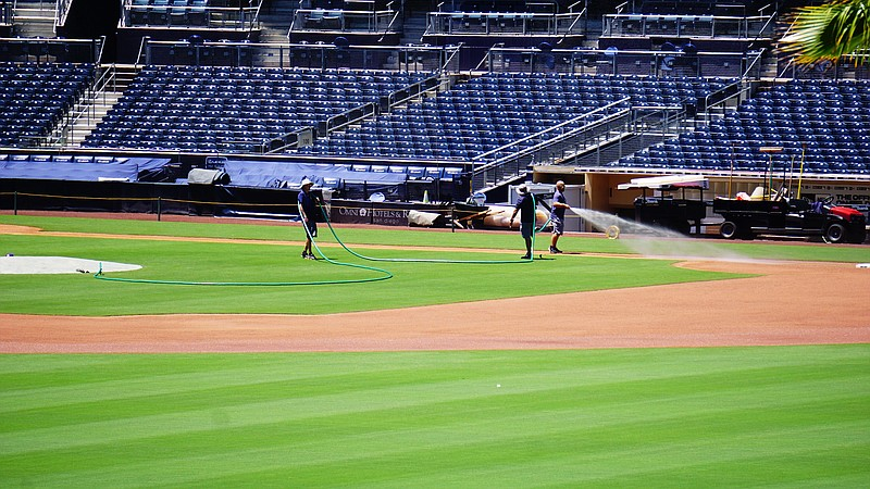 Grounds crew working at Petco Park. July 3, 2020.