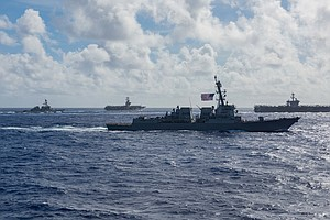 Photo for USS Bunker Hill, USS Russell Return To San Diego