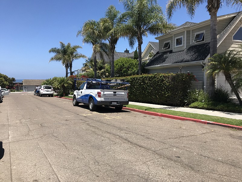 The curb on the north side of Camino De Collado in La Jolla is illegally pain...