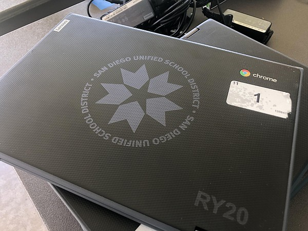 The San Diego Unified School District provides computers ...