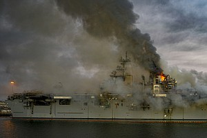 Crews Continue To Fight Raging Fire Aboard Navy Ship On San Diego Bay