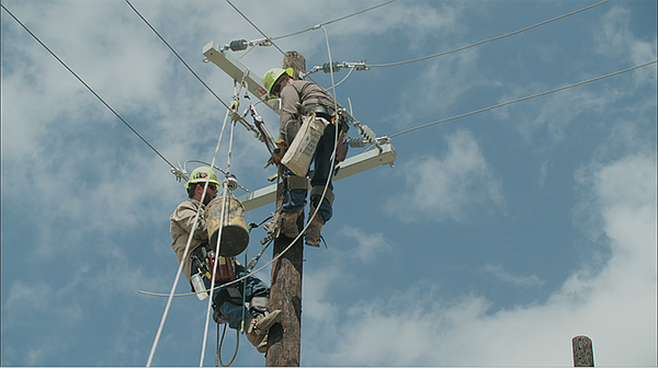 Electricity workers in Austin, Texas