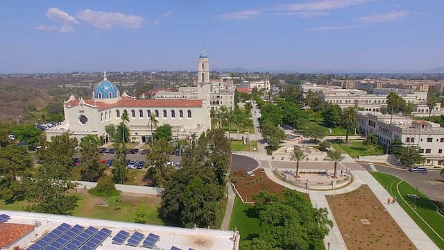 An undated aerial shot of the University of San Diego's campus.