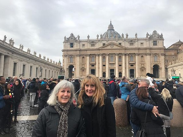 Kimberly (right) with a friend on a trip to Italy. The tr...