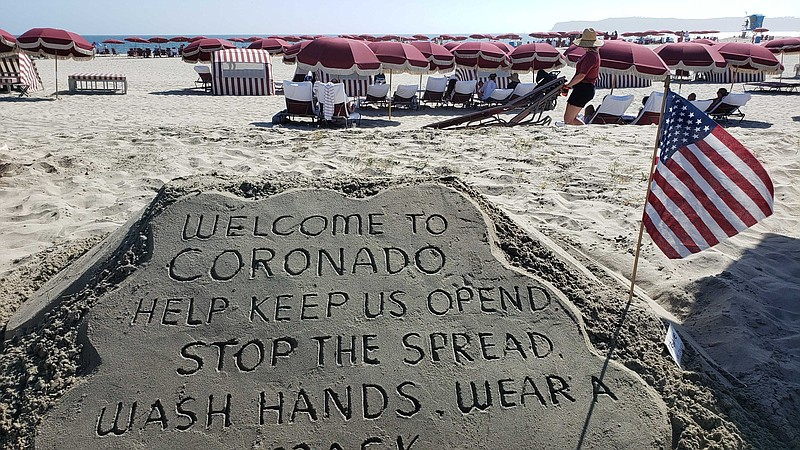 Sand art at the Hotel del Coronado on July 12, 2020, asking visitors to wear ...