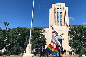 Photo for Pride Flag Raised Over County Building, Rainbow-Colored Lights Set For Weekend