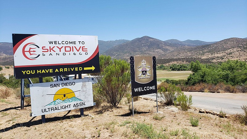 A sign at Skydive San Diego, Jamul, Calif. July 19, 2020.