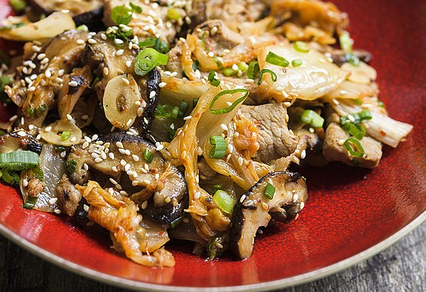 Sesame Stir-Fried Pork with Shiitakes is featured on