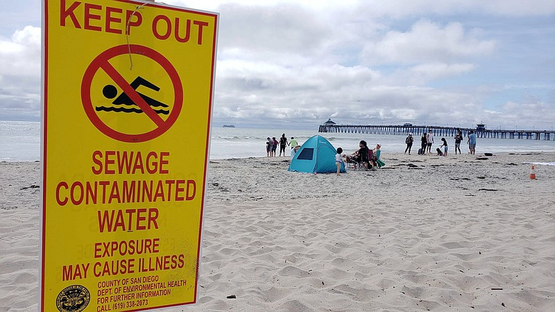 A sign in Imperial Beach on June 28, 2020, warning swimmers of sewage-contami...