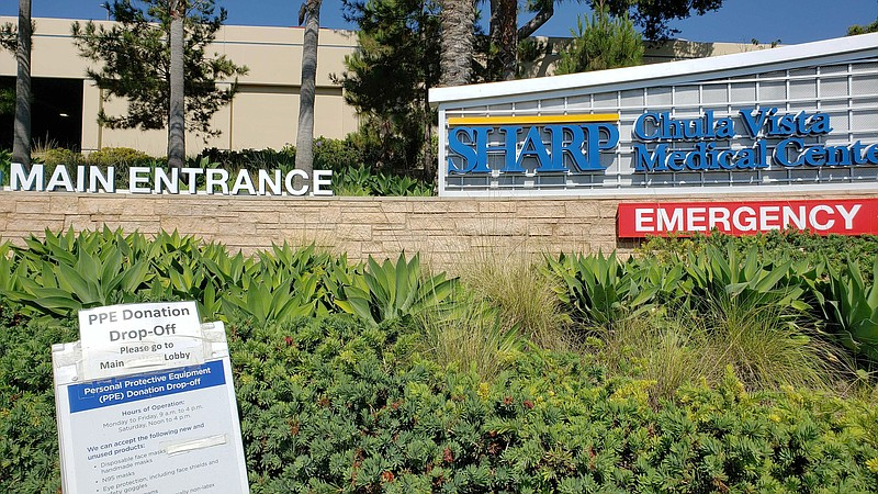 A sign in front of Sharp Chula Vista Medical Center on July 21, 2020, directi...