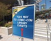 A sign directs the public and San Diego Comic-C...