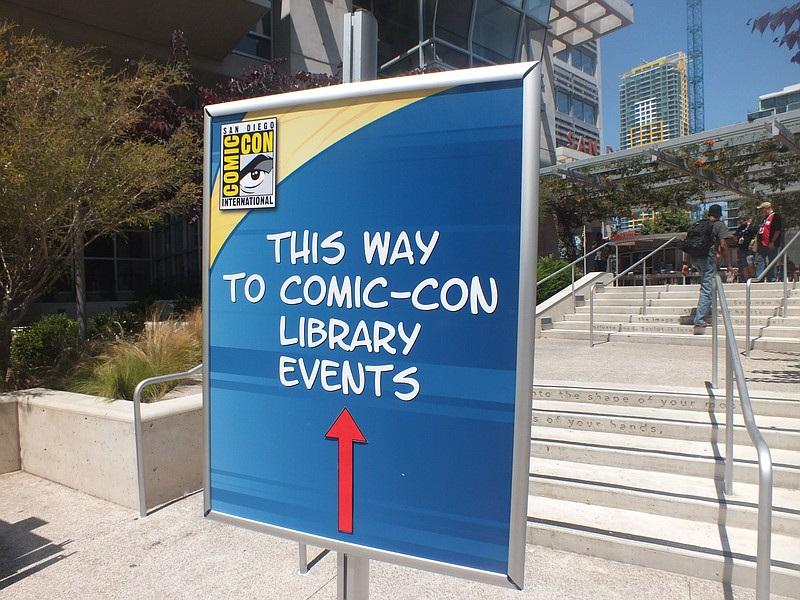 A sign directs the public and San Diego Comic-Con attendees to previous Comic...
