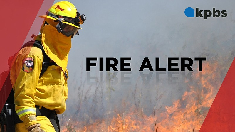 A KPBS fire alert graphic is pictured in this undated image.