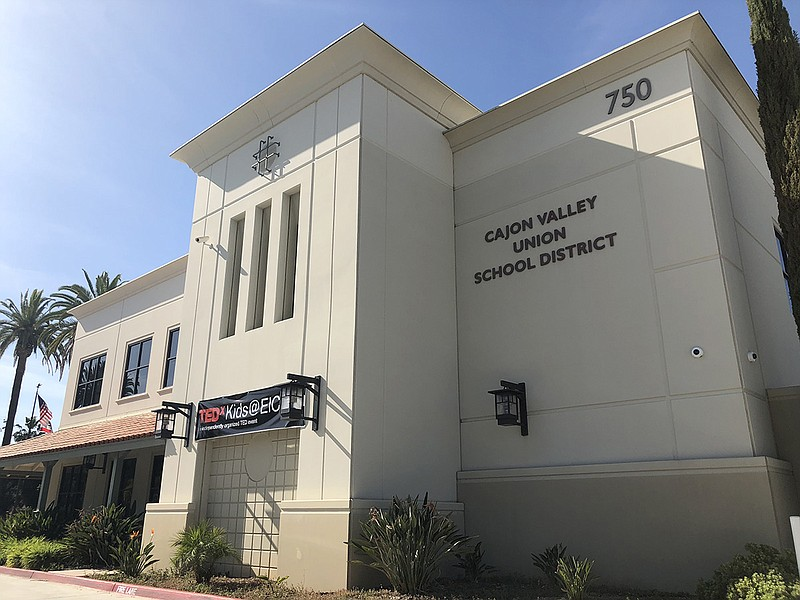The Cajon Valley Union School District central office is shown, April 10, 2018.
