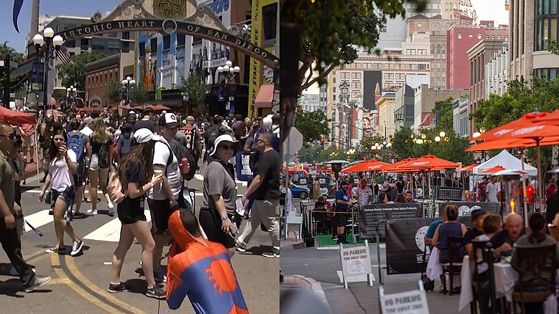 Comic-Con during 2019 under the Gaslamp sign downtown (left) and people eatin...