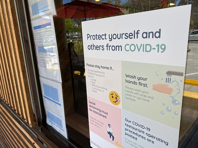 A sign detailing how to protect against COVID-19 outside of Rubicon Deli in L...