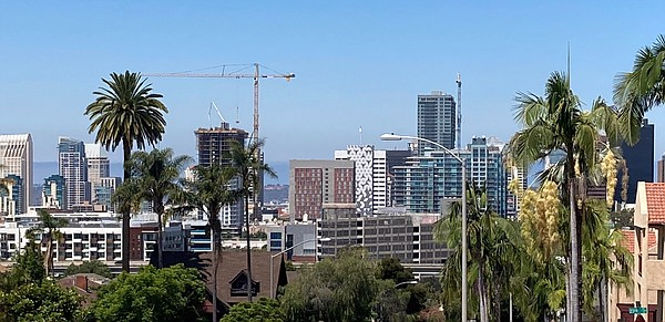 A sunny sky shines over downtown San Diego on July 25, 20...