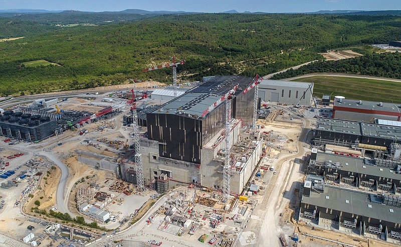 Construction of the ITER nuclear fusion plant in southern France, May 2020.