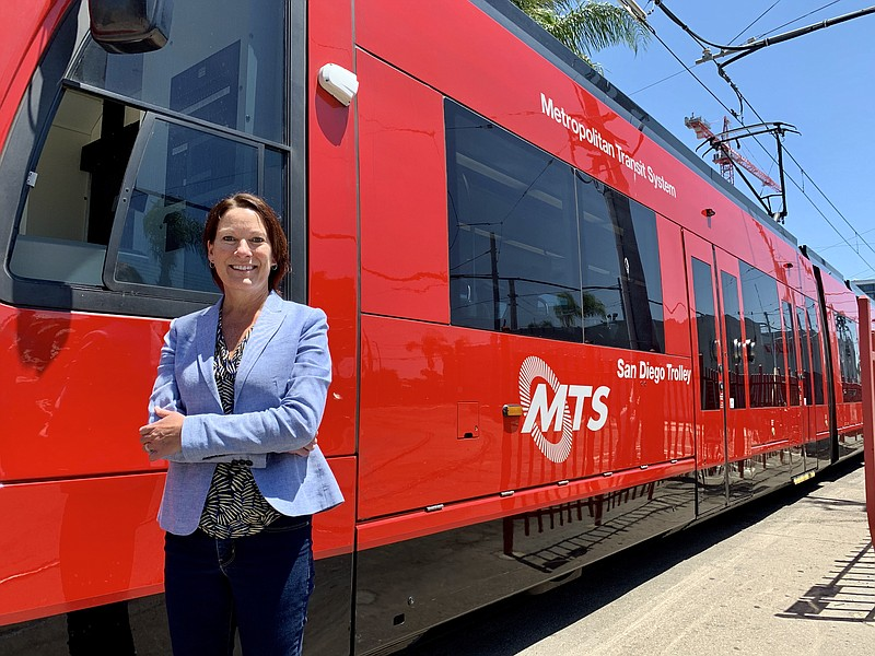 MTS CEO Sharon Cooney stands in front of a trolley car, July 31, 2020.