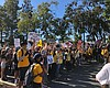Protesters marching in La Mesa, Calif. August 1...