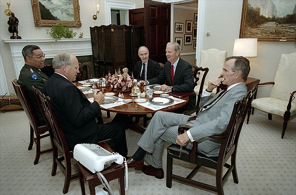 (From left) Colin Powell, Richard Cheney, Brent Scowcroft...